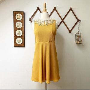 Free People • Mustard Dress Crochet Collar